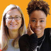 Portrait of two women who are guests on the Training Unleashed podcast